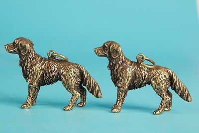 2 Rare China Bronze Hand-Carved Dog Animal Statue Pendant Old Antique Collection