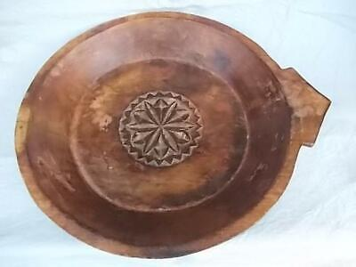 Large Vintage Wooden Hand Carved Ethnic Bowl With Applied Pigment Finish