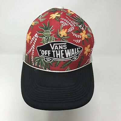 63875c6e Vans Off The Wall Logo Trucker Cap Snapback Floral Hawaii Mesh Baseball Hat