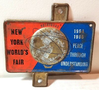 New York World's Fair Unisphere license plate topper, 1964-65, globe, vintage