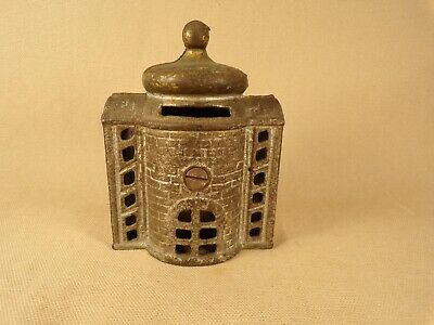 Early 1900s Original Cast Iron Bank Building Still Savings Bank Toy Antique
