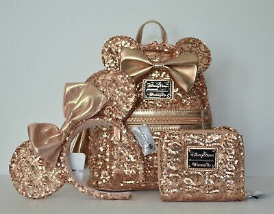 1e64fd50570 Disney Parks Rose Gold Loungefly Minnie Mouse Backpack Wallet Headband Set  NWT
