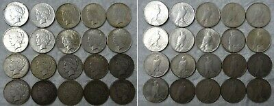1921 To 1935 Peace 90% Silver Dollar Coin Lot Collection Full Roll 20 Different
