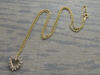 "14k yellow gold diamond heart pendant with 18"" rope chain - 3.4 grams"