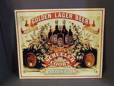Vintage Schueler & Coors Golden Lager Beer Tin Sign Golden, Colorado
