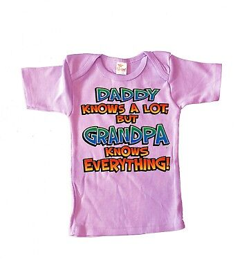 6-12 M Cute Funny Infant Tee Grandpa Knows Everything Saying Baby Shower Gifts