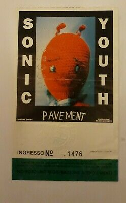Sonic Youth Rare Ticket/press Pass Gig Concert Milano 23/11/1992