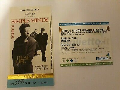 Simple Minds Rare Tickets Gig Concert Milano 1991 And 2012