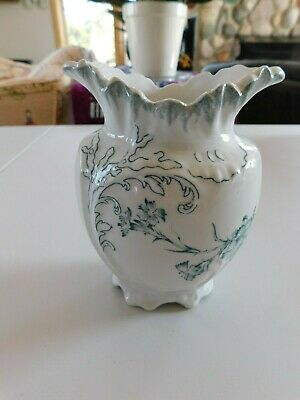 W. H. Grindley & Co. England Carnations Transferware Small White Vase 5 1/4 Inch