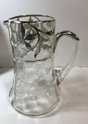 Antique Silver Overlay Victorian Crystal Pitcher