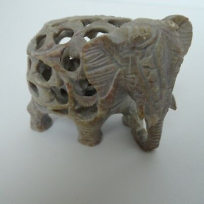 Elephant Figurine Vintage Statue Hand Carved Miniature Mother Baby New Animal