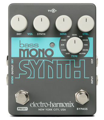 EHX Electro-Harmonix Bass Mono Synth Bass Synthesizer Effects Pedal