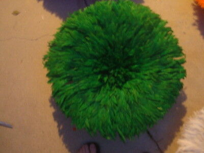 """Authentic 25"""" /  Green / African Feather Headdress / Juju Hat / 1st. Quality"""