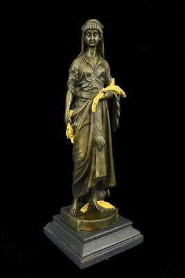 """Demeter Ceres Goddess of the Harvest Bronze Statue by E. Bouret 15"""" x 5"""" (Gold A"""
