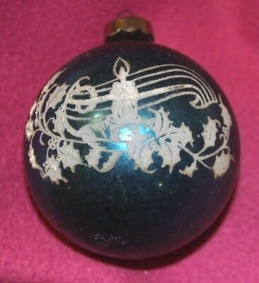 Vtg Blown Glass Ball Stencil Christmas Ornament Candle pine cones holly Blue USA