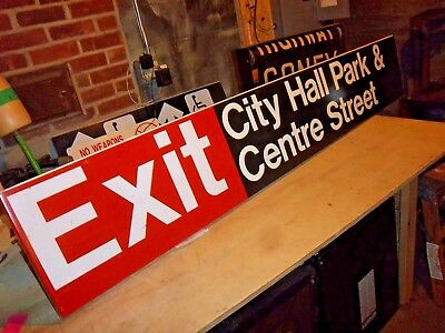 Nyc Metal Enamel Ny Subway Sign Vintage Collectible City Hall Park Centre Street
