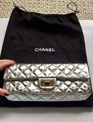 cbfe495d37ef CHANEL XL 227 Metallic 2.55 Reissue Quilted Classic Flap Bag Purple ...