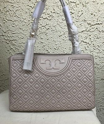 365a01a11c5 Nwt Tory Burch Fleming Open Shoulder Bag Center Zip Tote Handbag Bedrock