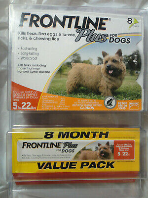 FRONTLINE PLUS DOGS 5-22Lbs FLEA & TICK CONTROL 8 DOSES NEW, SEALED