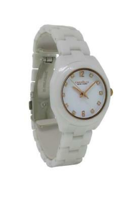 Caravelle New York 45L159 Women's Clear Stone White Ceramic Analog Watch