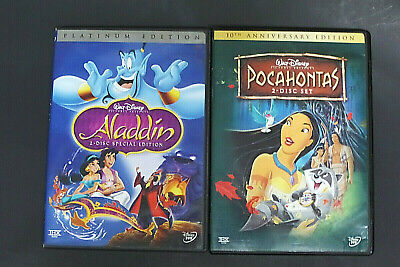 Disney DVD Lot Aladdin & Pocahontas 2 disc set Special Edition Platinum RARE