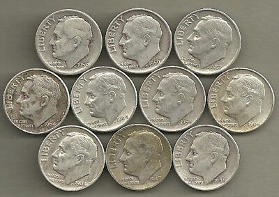 Roosevelt Dimes - US 90% Silver Coin Lot - 10 Circulated Coins #3959