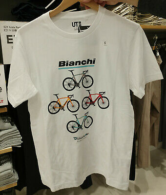 71535244 NWT Uniqlo THE BRANDS 2019 BICYCLE BIANCHI WHITE MEN Graphic Short Sleeve  TEE