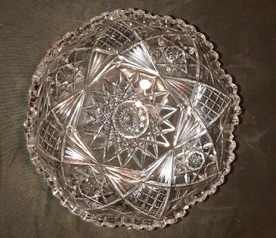 "Cut Glass bowl. Candy Nuts. Beautiful starburst pattern Clear 7"" High Quality"