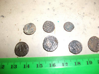 Lot of 7 small Ancient Roman Coins,average F+.bronze.