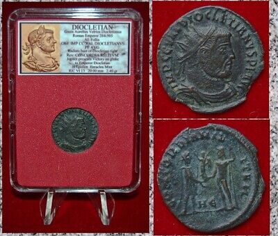 Ancient Roman Empire Coin Of DIOCLETIAN Jupiter Presents Victory to Emperor
