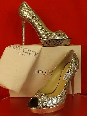 c2558d0c0adf Nib Jimmy Choo Crown Champagne Glitter Fabric Peep Toe Platform Pumps 40.5