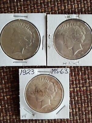 Lot of 3 -1923 Peace Silver dollars