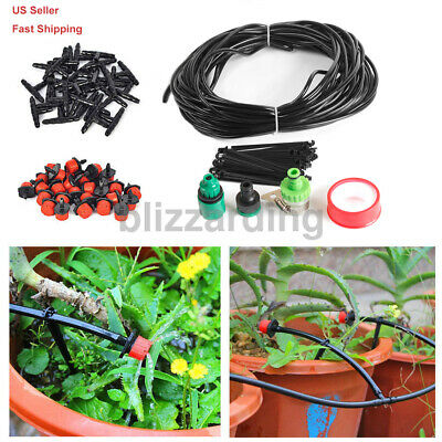 82 Feet Micro Drip Irrigation System Plant Self Watering Garden Hose Kit Free US