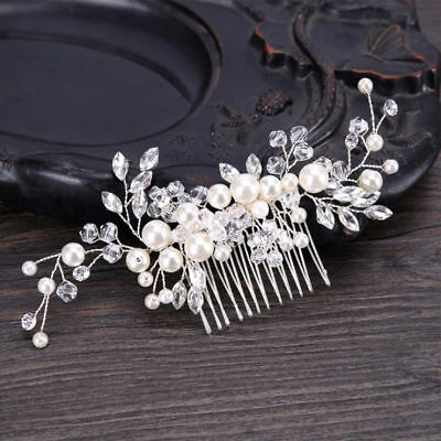 Wedding Bridal Hair Accessories Comb White Head Piece Pearls silver Bride