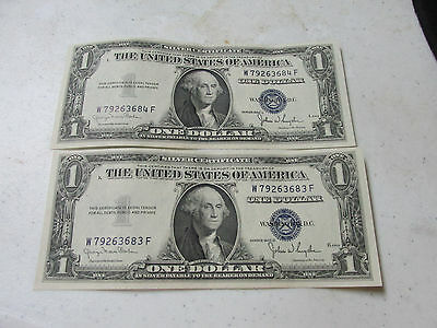 1935-D $1 Silver Certificates TWO CU CONSECUTIVE NOTES    Nice Notes