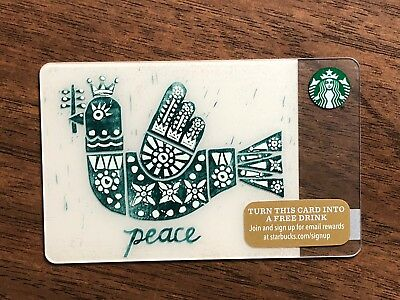 "Starbucks Gift Card 2015 ""Peace"" Dove Olive Branch Bird Cheer Holiday No $ Value"