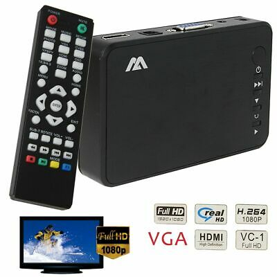 Portable Full 1080P HD Media Player VGA HDMI HDD SD USB H.264 MKV MOV AVI MPEG