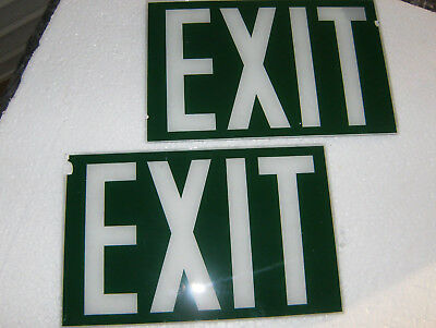 2 VintageGlass Exit Sign Inserts Green  Free Shipping