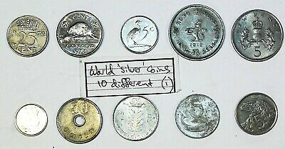10 different World silver coins. Circulated condition.