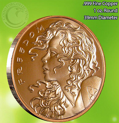 """""""2013 Freedom Girl"""" Copper Round 1 oz .999 Very Limited and Rare Single Sided"""