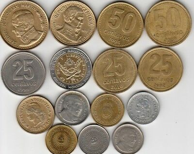 15 different world coins from ARGENTINA