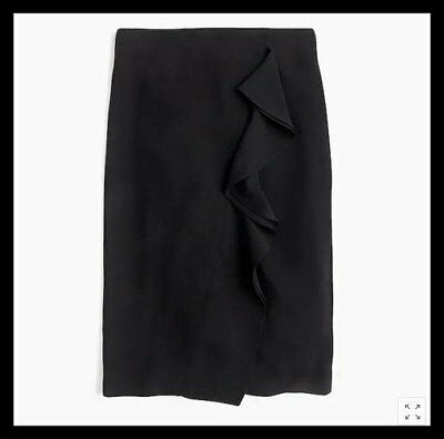 680659eea NWT J.Crew Ruffle Pencil Skirt in 365 Crepe Suiting Black 10 H6113 $98 5