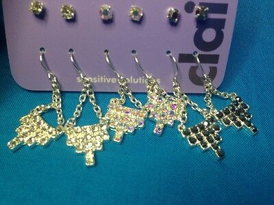 Six Pairs Of Claire's Sparkly Rhinestone Studs And Dangling Earrings New