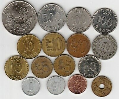 16 different world coins from KOREA some scarce