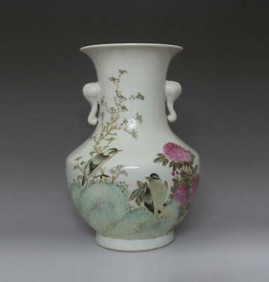 Fine Old Chinese Famille Rose Porcelain Vase Xu Dasheng Marked (673)