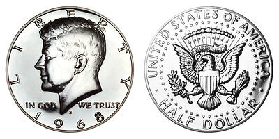 Silver 1968 S Kennedy Half Dollar Proof Gem Uncirculated 50 Cent Jfk Coin Pf