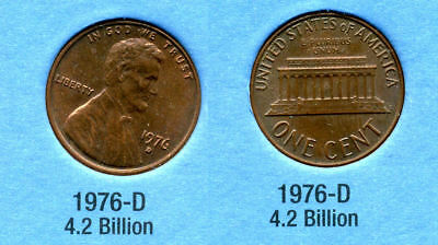1976 D ABE Lincoln Memorial AMERICAN PENNY 1 CENT US U.S AMERICA ONE COIN #B1