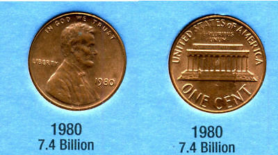 1980 P ABE Lincoln Memorial AMERICAN PENNY 1 CENT US U.S AMERICA ONE COIN #B1