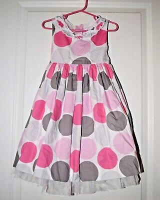 55ca5a9fd187d EUC MAGGIE AND Zoe Fancy Easter Dress White Pink Gray Polka Dot Size 5T  Gorgeous