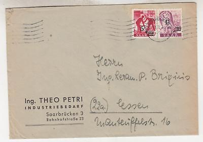 SAAR, 1948 cover, 1f. on 10pf. & 5f. on 20pf., Saarbrucken to Essen.